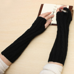 Men Women Sweater Knitting Fashion Warm Cute Half Arm Set Gloves