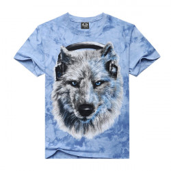 Mens 3D Music Snow Wolf Printed Tie-dyed Casual T-shirt Round Neck Tops Tees