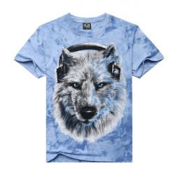 Män 3D Music Snow Wolf Tryckt Tie-färgat Casual T-shirt Rund Hals Toppar Tröjor