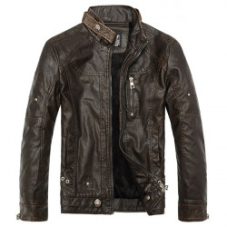 Men's Air Force PU Leather Jacket Stand Collar Locomotive Leather Coat