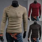 Mens Beige Fashion Irregular Button Pullover Slim Knit Sweaters Men's Clothing