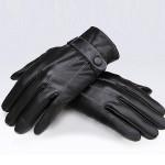Herren Schwarz Winddichte zeigt Finger PU Leder Radfahren Antriebs Handschuhe Herrenbekleidung