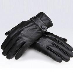 Herren Schwarz Winddichte zeigt Finger PU Leder Radfahren Antriebs Handschuhe
