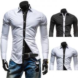 Herren Schwarz Weiß Kontrast Farben beiläufig passende Langarm Shirt