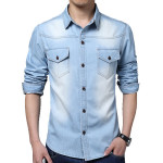 Herren Blau Fit Große Größen beiläufige gewaschenem Denim Langarm Shirt Herrenbekleidung