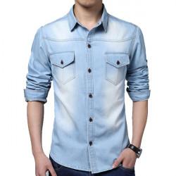 Herren Blau Fit Große Größen beiläufige gewaschenem Denim Langarm Shirt