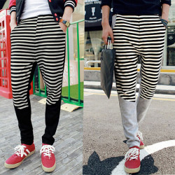 Mens Boys Stripe Contrast Color Sports Leisure Knitting Pants
