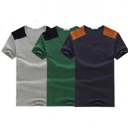 Mens British Style Casual Cotton  Splice Sleeve T Shirts