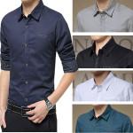 Män Bussiness Slim Fit Solid Color Bomull T-shirts Herrkläder
