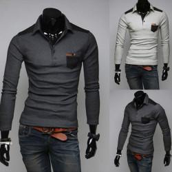 Man  Snygg Slim Fit Långärmad Polo Shirts T-shirt
