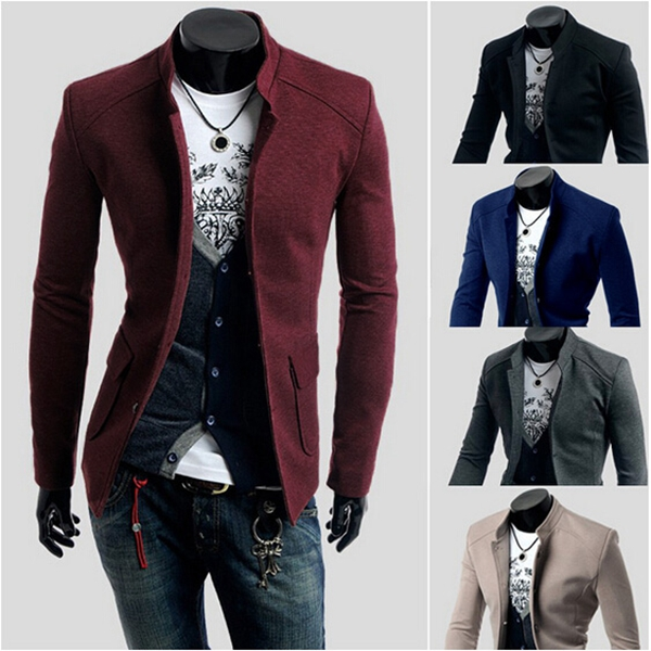 Mens Casual Business Solid Color Slim Stand Collar Suit Coat Blazers Men's Clothing
