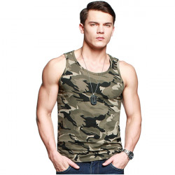 Mens Casual Camouflage Sleeveless Vest Slim Fit Cotton O-Neck tank Tops