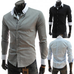 Men's Casual Contrast Collor Slim Fit Fashion Shirts