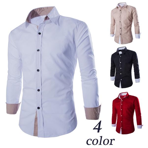 Män Casual Kontrastfärg Slim Fit Långärmad Företags Shirts Herrkläder