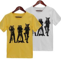 Män Casual Bomull Tecknad Wolf Axe Printed Tee Kortärmad T-shirt