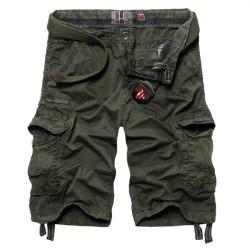 Mens beiläufige Baumwolle Art und Weise Multi Taschen Fracht kurze Hosen