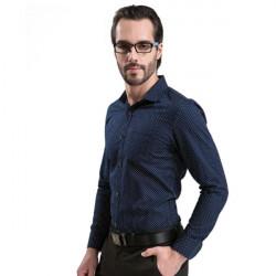 Mens Casual Cotton Printed Shirts Slim Business Long-sleeve Shirts