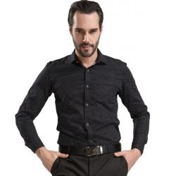 Mens Casual Cotton Printed Stitching Shirts Slim Long-sleeve Shirts