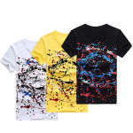 Mens Casual Cotton Round Collar Tees Slim Fit Pringting Short-sleeve T-shirt Men's Clothing