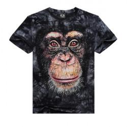 Mens Casual Cotton Tees 3D Animal Printing Short-sleeved T-shirt