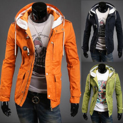 Men's Casual Features Horn Button Jacket Hooded Trade Coats