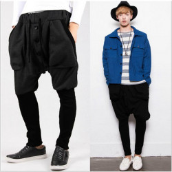 Mens Casual Hip Hop Trousers  Large Pockets Personality Fashion Pants