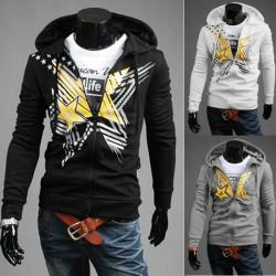 Mens Casual Hooded Sportswear Pentagram Printing Fashion Hoodies