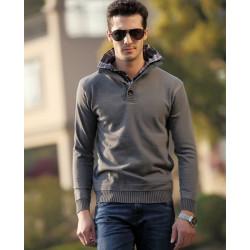 Herren sportlich Pullover stricken Schlank Warm Mode Langarm Male Tops