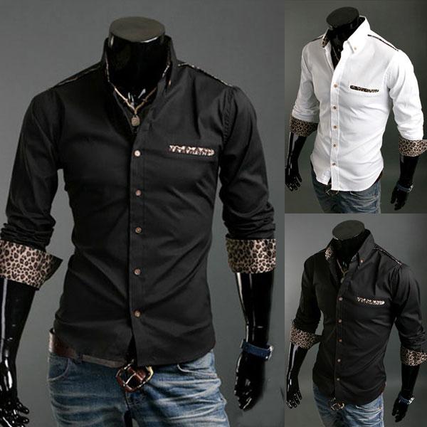 Män Casual Leopard Grain Prydnad Slim Fit Långärmad Skjorta Herrkläder