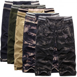 Mens Casual Loose Large Size Cotton Camo Cargo Shorts