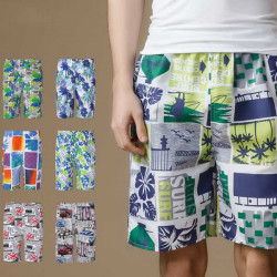 Mens Casual Loose Swim Trunks Fashion Flag Printing Beach Shorts