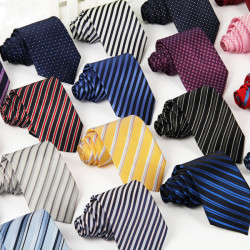 Men's Casual Polyester Silk Arrow Stripes Tie