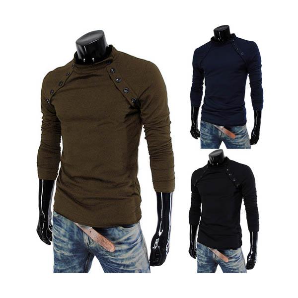Der zufälligen Männer Slim Fit Langarm Baumwoll T Shirt Herrenbekleidung