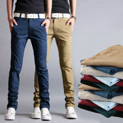 Mäns Casual Slim Fit Pencil Bomull Chino Byxor