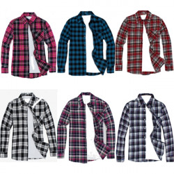 Mens Casual Slim Fit Plaid Cotton Blended Lapel Long Sleeve Shirts