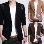 Mens Casual Slim Fit Solid Color Cotton Double Button Suits Men's Clothing