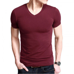 Mens Casual Slim Fit V-neck Solid Multicolor Short sleeve T-shirt