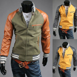 Mens Casual Slim Hit Color Stand Collar Jacket Coat