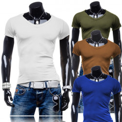 Mens Casual Solid Color Cotton Short Sleeved V-neck Slim T-shirt