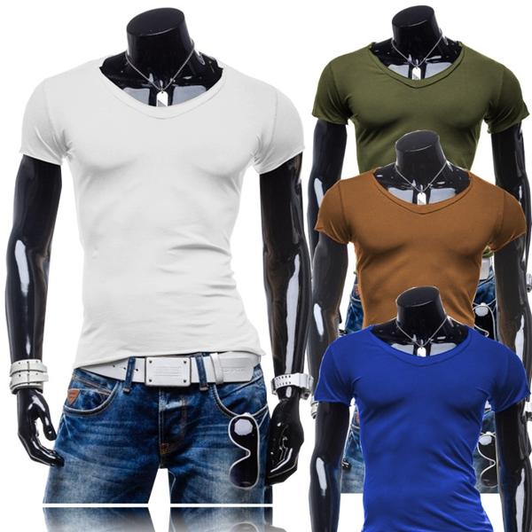Der zufälligen Männer Solid Color Cotton Kurzarm V Ansatz dünnes T Shirt Herrenbekleidung