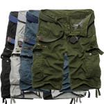 Mens Casual Solid Cotton Multi-pockets large Size Cargo Short Pants Men's Clothing
