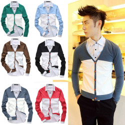 Mens Casual Splicing Long Sleeves Cardigan Knitwear 6 Colors