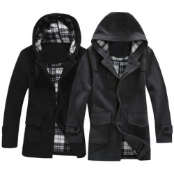 Mens Casual Stylish Coat Hooded Woolen Wind Warm Jacket Coat