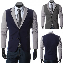 Män Casual Suits Slim Fit Stitching Två Knapp Kostymer