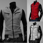 Men's Casual Zip Knitting Slim Hoodie College Style Sleeveless Vest Men's Clothing