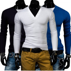 Mens Causal Cotton Button Hitting Color Long Sleeved V-neck T-shirts