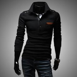 Mens Classic Black Gray Slim Fit Long Sleeve T-shirts