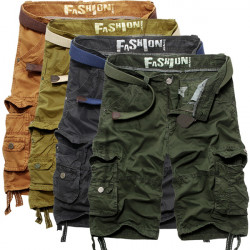 Mens Classic Casual Solid Cotton Multi-pocket Cargo Shorts Pants
