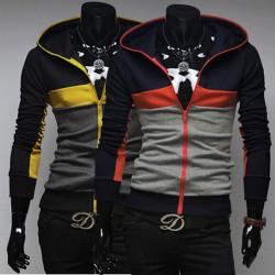 Men's Contrast Color Hooded Brushed Zipper Cardigan Sweater Coat