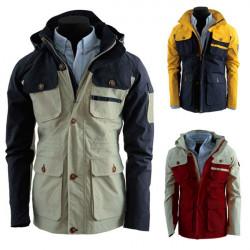 Men's Contrast Color Multi Pockets Slim Fit Hooded Outwear Jacket